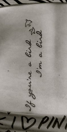 If youre a bird Im a bird. - The Notebook by Nicholas Sparks My second tattoo, down the side of my spine.