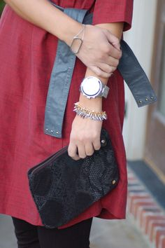 Michael Kors silver runway watch with Stella and Dot renegade bracelets #jssouthernchic #armcandy