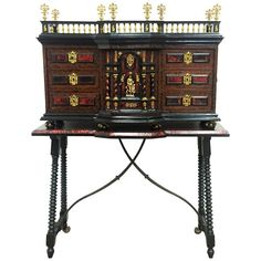 Original Italian Cabinet on stand .Baroque Bargueno. | From a unique collection of antique and modern buffets at https://www.1stdibs.com/furniture/storage-case-pieces/buffets/
