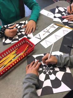 """Please Note: All images seen below are of my students artwork only. These photos/lessons are not posted in any particular order regarding the flow of my curriculum.  OP ART- """"3D PAPER C…"""