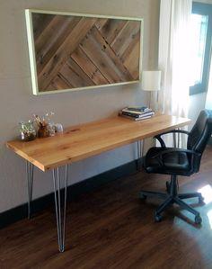 Sale Long Mid Century Modern Pecan Desk with Steel by woodshopco