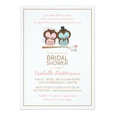 Owl Wedding Invitations Owl Bride & Groom Sweet Bridal Shower Invitation