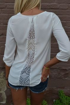 transform a too-tight shirt in my wardrobe? or add lace insert into a men's shirt refashion Diy Clothing, Sewing Clothes, Clothes Refashion, Shirt Refashion, Clothes Crafts, Diy Kleidung, Diy Vetement, Creation Couture, Lace Insert