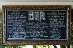 Vintage Style Bar Menu I Birchtree Catering I #Wedding #Decor #signage