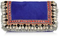 ShopStyle: Matthew Williamson Embellished fringed suede clutch