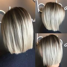 Blunt Blonde Bob A post shared by ( on Feb 2017 at PST This simple, yet oh-so-chic blonde bob combo comes to us all the way from Canada! Sarah McDonald ( a stylist at Bob and Page Salon & Blowdry Bar who specializes Ashy Blonde Balayage, Balayage Hair, Bayalage, Blonde Blunt Bob, Blonde Bob Hair, Medium Blonde Bob, Blonde Ombre Bob, Short Blonde Bobs, Beige Blonde