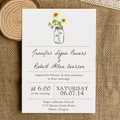 "Mason Jars and Sunflower Rustic Wedding Invites with Free RSVP Cards//Use coupon code ""CVB"" to get 10% off towards all the invitations. #elegantweddinginvites"