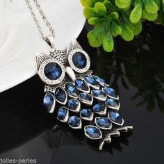 JP Fashion Charm Diamante Owl Pendant Necklace Jewelry Sweater Silver Tone Chain