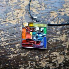 Rainbow Inspired ROYGBV Mosaic Pendant by Margaret Almon of nutmegdesigns on Etsy
