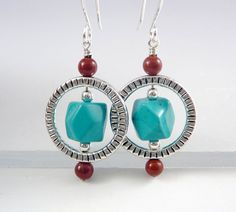 Turquoise Drop Earrings Nickel Free Earrings by TouchOfSilver