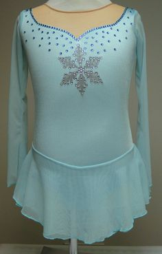 Sk8 Gr8 Designs Frozen Figure Skating Dress, silver handpainted snowflake with Swarovski rhinestones in aqua and crystal, available on Etsy www.etsy.com/shop/Sk8Gr8Designs