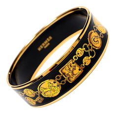 "Hermes ""H Chaine Kavalla"" Wide Printed Enamel Bracelet PM (65) Gold 