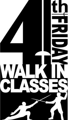 #DowntownFayetteville #FourthFriday  Don't Forget!  This Friday is Walk-In Classes!  Ever wanted to try out fencing?  Maybe just one time?  Not sure if you want to do a whole month?  Try the WALK-IN FENCING CLASS PROGRAM!  Anybody (ages 7) can sign up for one of the classes on Fourth Friday.  Pre-registration is not required!  All equipment is provided.  Bring your friends!  Bring your spouse!  Bring your girlfriend/boyfriend!  Everyone played swords when they were kids!  Whether you…