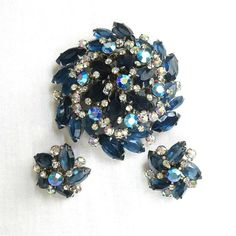 Vintage Verified JULIANA Large & High Domed Sapphire Blue and Aurora Borealis Rhinestones Brooch and Earrings Demi Parure Set by MyVintageJewels, $118.00
