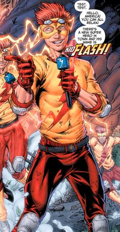 Hailing from the 30th century, Bart Allen is the grandson of the Flash, Barry Allen and Iris Allen. Originally using the name Impulse and trained by Max Mercury, Bart utilizes the same powers of super-speed possessed by his grandfather and fights crime alongside the Teen Titans, know as Kid Flash and Wally West's sidekick.