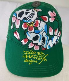 Details about Don-Ed Hardy Designs Baseball Cap Green Snapback Unisex Skull  Love Kills Slowly 7b4abbe29266