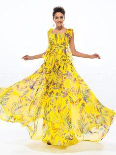 able A-line Scoop Flower Printing Floor-length Evening Dress Evening Dresses 2015- ericdress.com 11175471