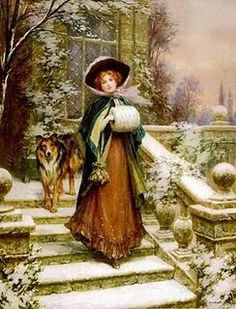 Victorian lady w/her dog Victorian Christmas, Vintage Christmas Cards, Vintage Postcards, Vintage Images, Christmas Illustration, Antique Photos, Winter Scenes, Christmas Pictures, Print Pictures