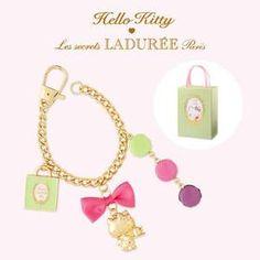 LADUREE Paris x Hello Kitty Bag Charm Key Chain in Gift Box FreeShipping Rare