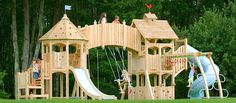 Ok. Maybe this swing set is a little over-the-top, but CedarWorks has many to choose from, and even to custom design and all of their materials are splinter-free, chemical-free and maintenance-free Northern White Cedar. Can't beat that.