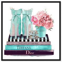 Artwork Modestly Aquamarine Display features print of Blue Floral and Botanical. Unique Shoes with vivid Tiffany Blue hues make this Glam style the perfect decor for your home or office. Oliver Gal was voted Best in Wall Art! Tiffany Art, Tiffany And Co, Tiffany Blue, Canvas Frame, Canvas Art, Fashion Wall Art, Book Making, Art Pieces, Illustration Art
