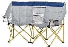 Folding Camping Chairs, Folding Chair, Kick Backs, Oxford Fabric, Beach Picnic, Green And Grey, Love Seat, Relax, Indoor