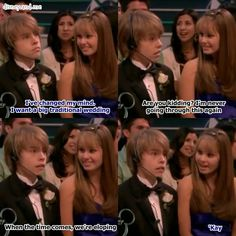 The suite life on deck. Cody martin and bailey pickett. Cole Sprouse and Debby Ryan. Traditional wedding or eloping? Disney Xd, Funny Disney, Disney Memes, Disney And Dreamworks, Disney Love, Disney Pixar, Zack And Cody Funny, Zack Y Cody, Sweet Life On Deck