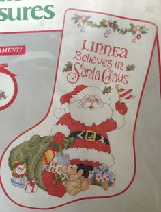 Santa Claus Cross Stitch Christmas Stocking Kit I Believe in Needle Treasury VTG #NeedleTreasures #StockingSock