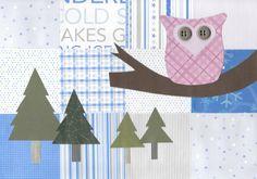 Original Paper Collage  9 x 12  Winter Wonderland 3 by AidforAbby