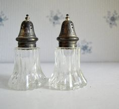 Vintage Salt and Pepper Shakers Clear by SongSparrowTreasures, $3.00