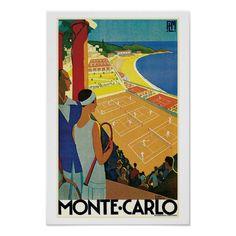 Vintage Monte Carlo Tennis Travel Ad Poster