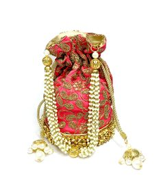 Embroidered and Embellished Potli bags. Perfect for weddings, Viah, Nikah or Shaadi. Get your Ghungroo potli today. Silk Base, High quality product. From California with Love. Ship time 1-3days :-)