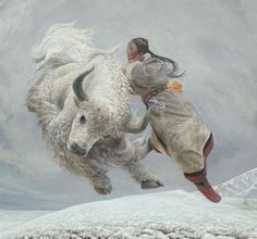 """Wang Yiguang (Chinese: 王沂光) is a modern Chinese painter notable for his Tibetan paintings of flying people, yaks and sheep. The """"humbly Beauty"""" of Tibet strucked him..."""