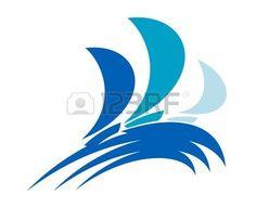 Tres barcos de colores en las ondas de oc�ano azul para el dise�o deportivo de la regata photo