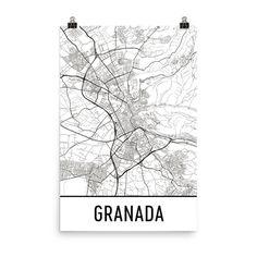 Granada Map, Granada Art, Granada Print, Granada Spain Poster, Granada Wall Art, Map of Granada, Granada Gift, Granada Decor, Map Art Print