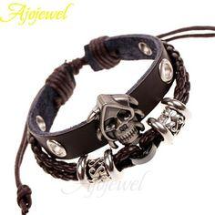 Ajojewel 2pcs/lot Christmas Gift Men Jewellery Skull Bracelet Bangles Women Pulseira De Couro