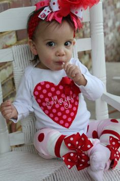 Items similar to Baby Girl Valentine Bodysuit or Girl Shirt -monogrammed with her name - hand cut applique with hand sewn bow on Etsy Baby Girl Valentine Outfit, Easter Outfit For Girls, Valentines Day Baby, Valentines Outfits, Baby Dress, Dress Up, Baby Girl Christmas, Maya, Bodysuit