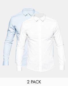 Hemd im Set von ASOS gewebtes Material enthält Stretch für eine bequeme Passform breiter Kragen Knopfleiste enge Passform Maschinenwäsche 96% Baumwolle, 4% Elastan Model trägt Größe M und ist 188 cm/6 Fuß 2 Zoll groß Zweierset