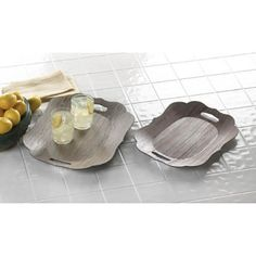 Plastic Brown Floral Decorative Scallop Edge Display Trays #Unbranded