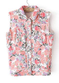Red Lapel Sleeveless Floral Waistcoat US$30.11