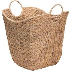 The Household Essentials Water Hyacinth Wicker Basket with Handles features a contoured top line that is high on the ends and lower in the middle for a modern feel. The basket is woven from water hyacinth and is perfect for storing blankets or throws. Storage Baskets With Lids, Wicker Baskets With Handles, Storage Containers, Storage Ideas, Storage Solutions, Storing Blankets, Throw Blankets, Water Hyacinth, Wicker Furniture