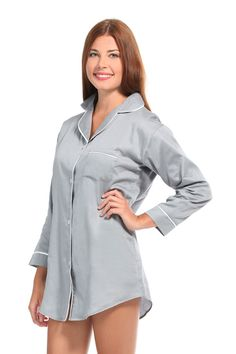 Grey With White Sateen Night Shirt