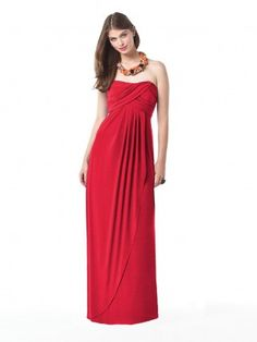 Zipper Red A-line Floor-length Strapless Bridesmaid Dress £89.00