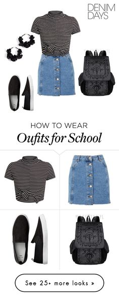 """Untitled #483"" by lorelei-rampersad on Polyvore featuring Topshop, Oscar de la Renta and denimskirts"