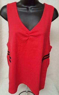 G.W. Sport NWT Woman's Plus Red/Black Cross Back Tank Top Shirt Size 2X #GWSport #TankCami #Casual