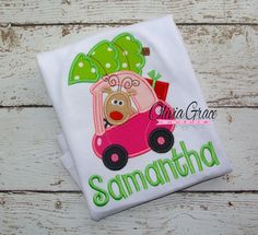 Cozie Car with Tree Girls Christmas Shirt by OliviaGraceCouture