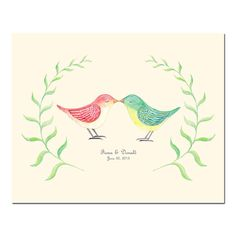 Regalo di nozze unico per coppia coppia personalizzato ritratto illustrazione digitale File personalizzati parete arte stampabile bosco matrimonio amore uccelli