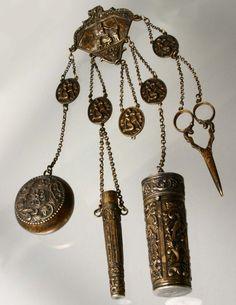 Chinese Gold, Jade, and Coral Pin