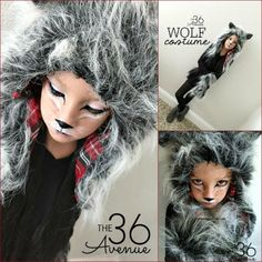 Girls Wolf Costume, Girl Werewolf Costume, Big Bad Wolf Costume, Wolf Halloween Costume, Werewolf Makeup, Halloween Makeup For Kids, Quick Halloween Costumes, Diy Costumes, Diy Halloween