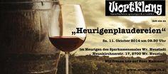 """WortKlang - Peter Rizmal & Daniela Noitz - präsentieren ihr neues Programm """"Heurigenplaudereien"""" sinnigerweise im Heurigen des neurenovierten Sparkassensaales. Lasst Euch das nicht entgehen ... Red Wine, Alcoholic Drinks, Glass, Savings Bank, Alcoholic Beverages, Drinkware, Red Wines, Liquor, Yuri"""